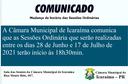 Alteração de horário das Sessões Ordinárias da Câmara Municipal de Icaraíma.