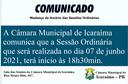 Alteração de horário de Sessão Ordinária da Câmara Municipal de Icaraíma.